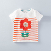 Short Sleeve O-neck Stripe Printed Flower kids tshirt printing 2016