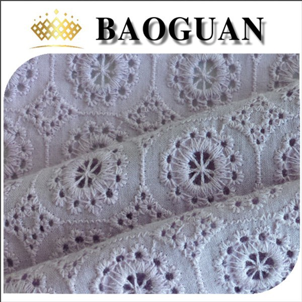 purple color eyelet embroidered 100 cotton fabric prices BG1791