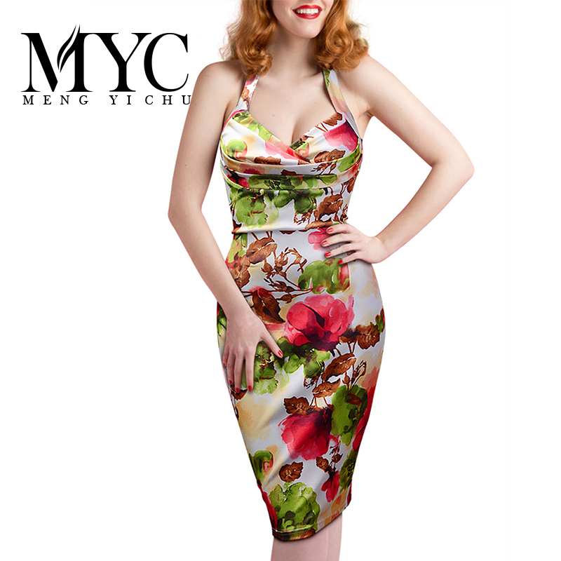 Sexy Women Bandage Party Dresses 2016 Summer New Fashion Floral Print Sleeveless Bodycon Pencil Dress Ladies Knee Length Dress