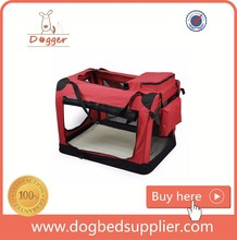 Deluxe Soft Sided Folding Pet Playpen / Crate - Red/ Blue