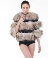 QD21471 New Collection Fashion Woman Clothes Leather Women XXL Raccoon Fur Coat