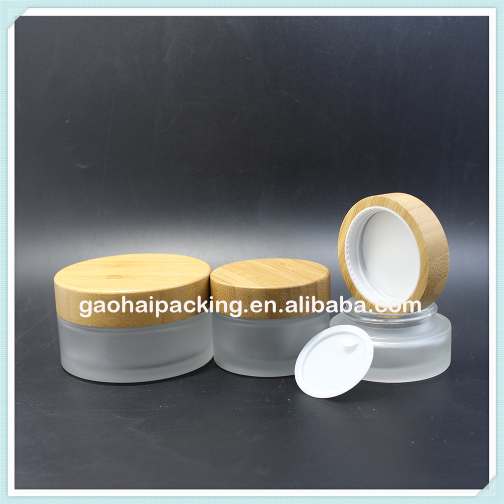 wholesale 80g round real wooden cap empty glass cream jar for personal care