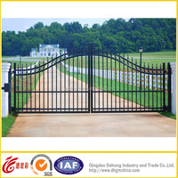 Factory Wholesale Used Galvanized Powder Coated Iron Pipe Driveway Gate /House Main Steel Garden Gate Grill Designs