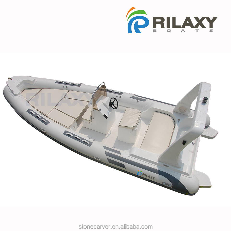 Rilaxy 24ft 7.3m FRP hull Rigid Inflatable Boat with Orca 866 Gray Tube, Medium Sized Wide Motor Yacht Boat RIB730