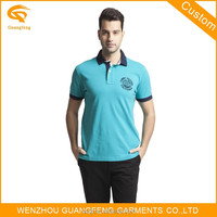 100% Cotton Custom Printing Blue Polo Shirt