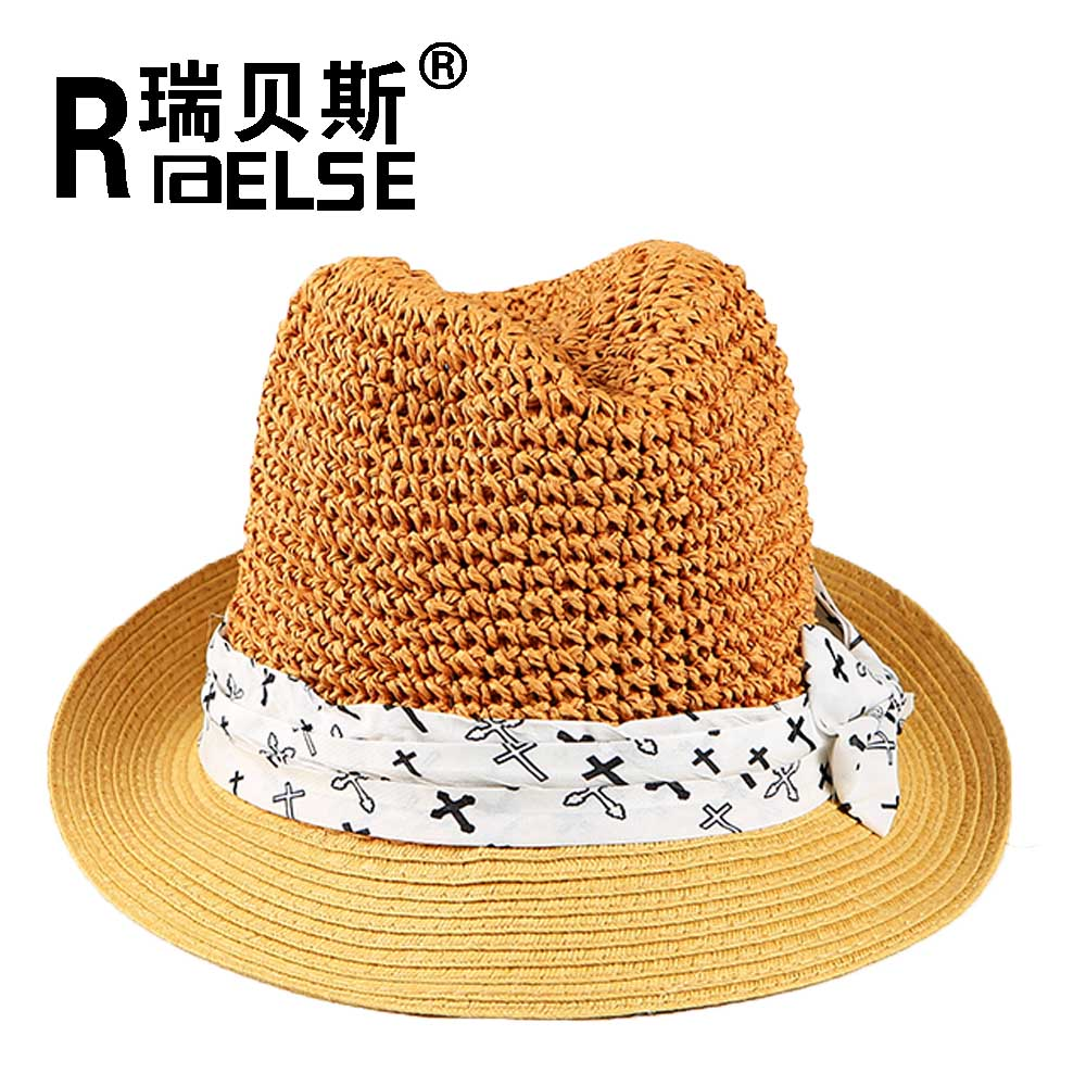panama paper straw fedora hat custom logo band