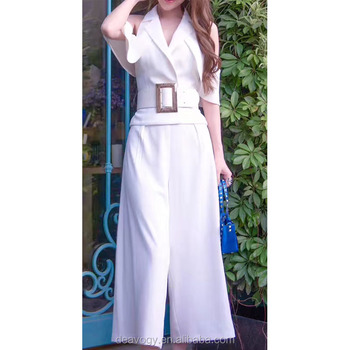 Deavogy 2017 White Black V-neck Modern Chic Sexy Womens Jumpsuit Hot Sale