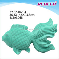 Ceramic fish home decoration with flocking finishing