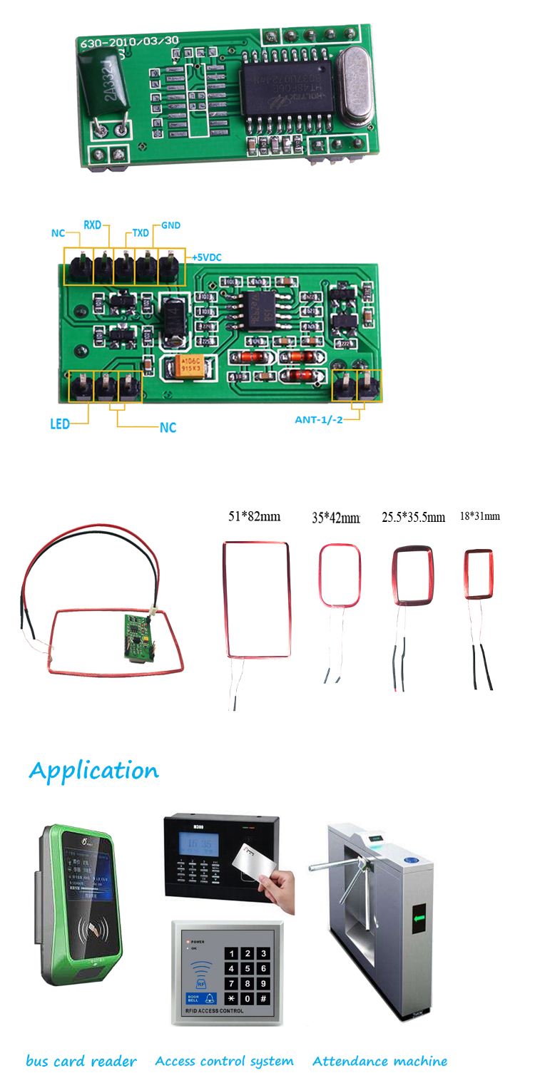 125khz rfid card reader keyboard emulation module with RS232 wiegand26 TTL EM4100 4200