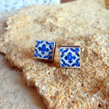 Stud Post Earrings Portugal Blue Antique Azulejo Tile Replica
