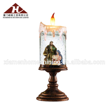 Wholesale Candlestick LED Snow Globe Decorative Polyresin Figurine Religious