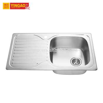 Customized stainless steel single bowl laundry sink with drainboard