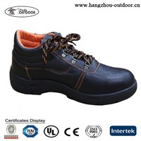 2015 New Fashion Black Leather Steel Toed Safety Shoes Manufacturer