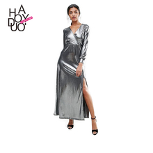 HAODUOYI Fashion Soild Silver Women Maxi Dress Cross Deep V-neck Long Sleeve High Waist Ladies Long Vestidos for Wholesale