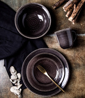 4 pcs black grey white black brown portuguese ceramic dinnerware for home hotel and restaurant