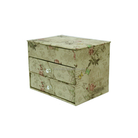 Antique art paper cyan jewelry box with drawers
