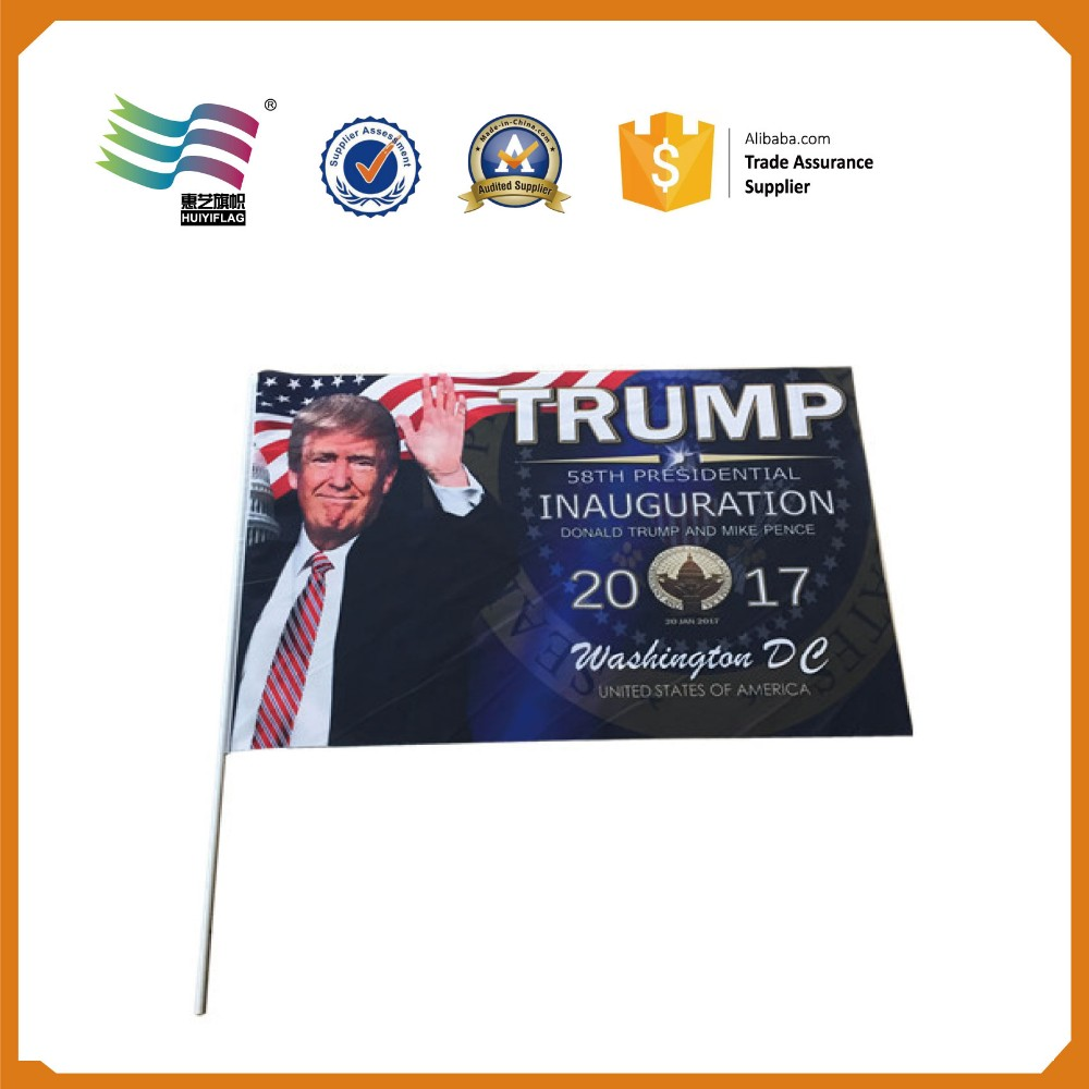 USA New president American election flag hand waving flag
