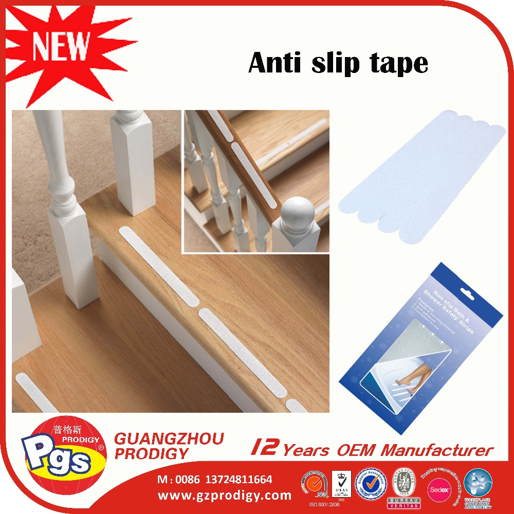 White Adhesive Vinyl Anti Slip Non Skid Safety Tape Bath Clear Antislip Strips