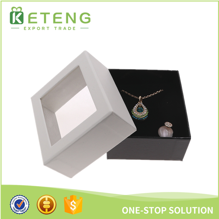See through window pearl necklace jewelry gift box