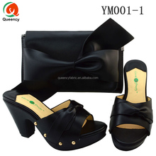 YM001 Queency Wholesale Fashion Elegant Design Italian Leather Shoes with Matching Bags Size 38-42 African Women Slipper