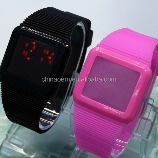 Magic Hidden Touch Screen Red LED Digital Watch Men Women Sport Cuff Wrist Watch assorted colours