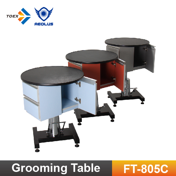 FT-805C Professional Round Grooming Table Hydraulic Lifting Dog Table with Cabinet