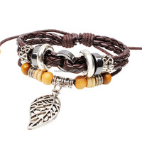 Maple Leaf Charm Vintage Multi-Strand Cord Leather Wooden Cube Bead Leather Wrap Bracelet Wholesale
