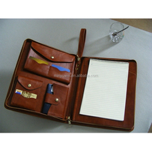 Fashion brown zip padfolios case for businessmen genuine leather pad portfolios fashion gifts for university students