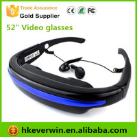 Mobile Theatre Video Glasses Movies on 52 inch Virtual Screen EyeWear Video Glasses with Built-in 4GB Memory