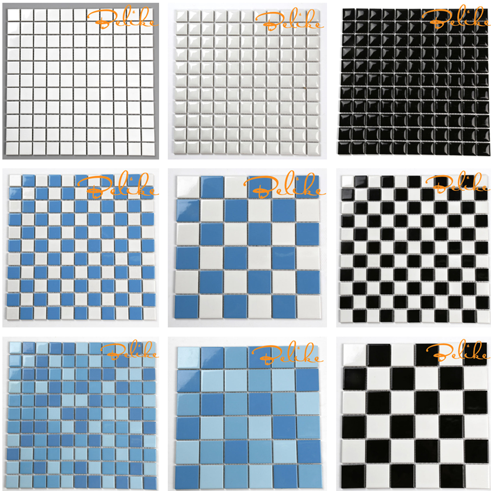 Regular Square Ceramic Mosaic Tiles Swimming Pools Modern Style Common Design Simple European Mediterranean Styles