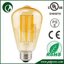 Wide angle rohs ce ul pse approved 12 watt filament led light bulbs with amber glass cover