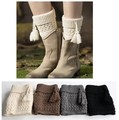 Boot Socks Leg Warmers Crochet Knit Toppers Girls Cuffs Knee Leggings Twill New