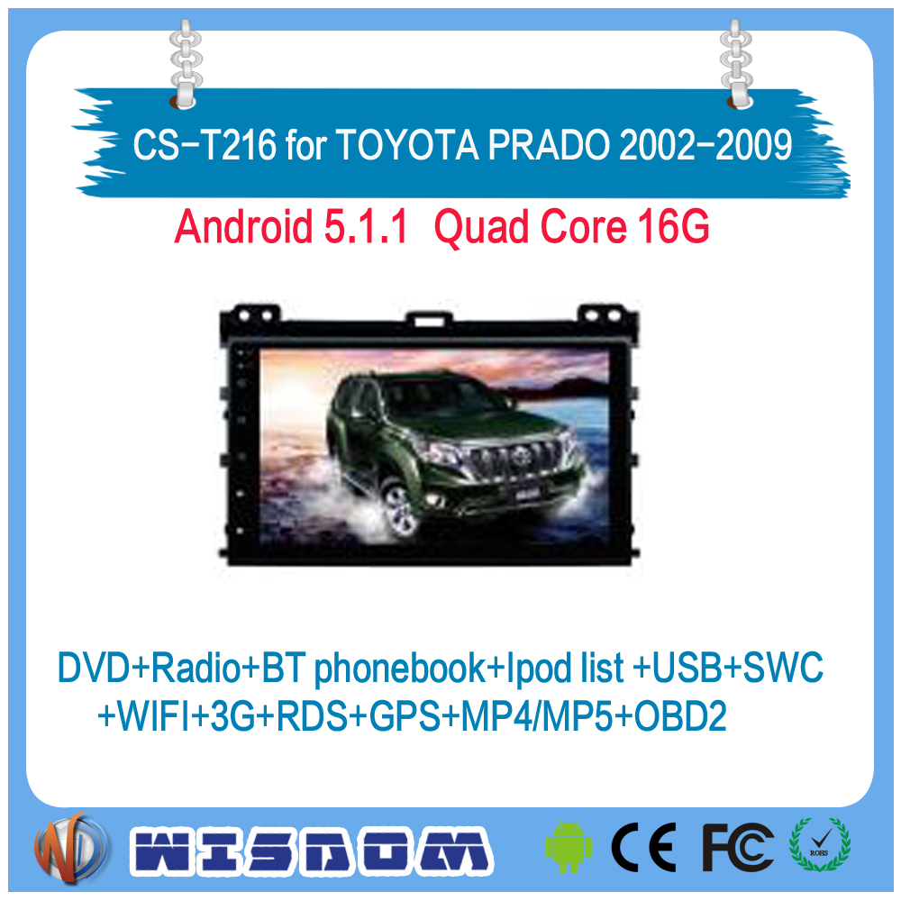 9'' touch screen android for TOYOTA PRADO 2002 2003 2004 2005 2006 2007 2008 2009 gps quad core support wifi bluetooth swc obd2