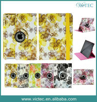 High quality Flower Design 360 degree rotating pu leather tablet case for iPad air