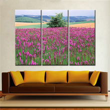 Oil Painting on Demand 3 Panel Realistic Flower Field Natural Scenery Painting Pictures Digital Printed Wall Art