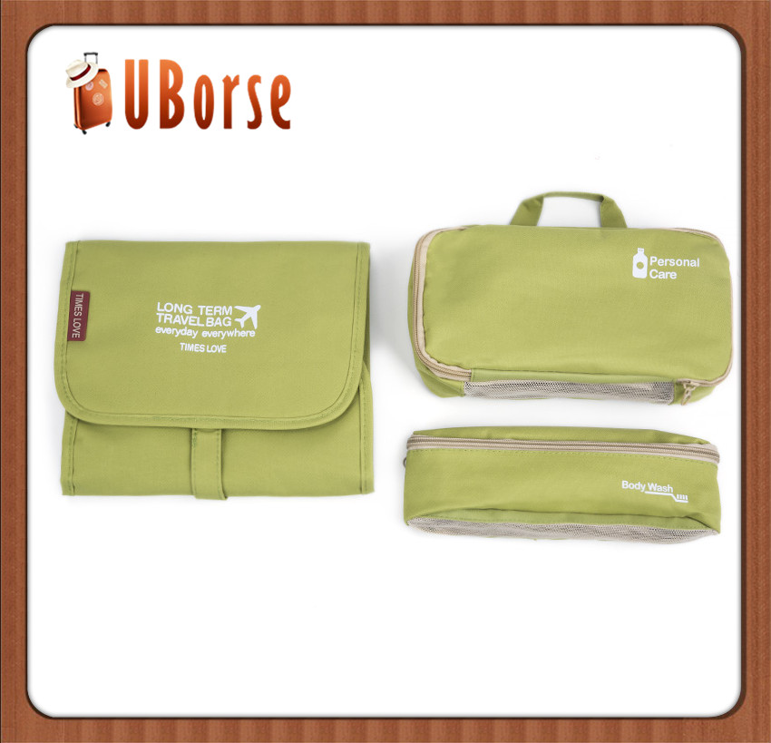Travel hanging cosmetic bag organizer with 3 sets