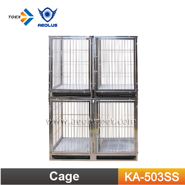 KA-503SS Stainless Steel Wire Dog Cages Crates Folding Large Dog Cage Bank