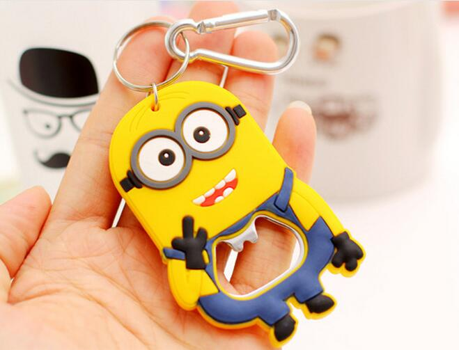 High quality 3D soft pvc custom famous cartoon animals keychain ,minion rubber keychain with Beer bottle opener