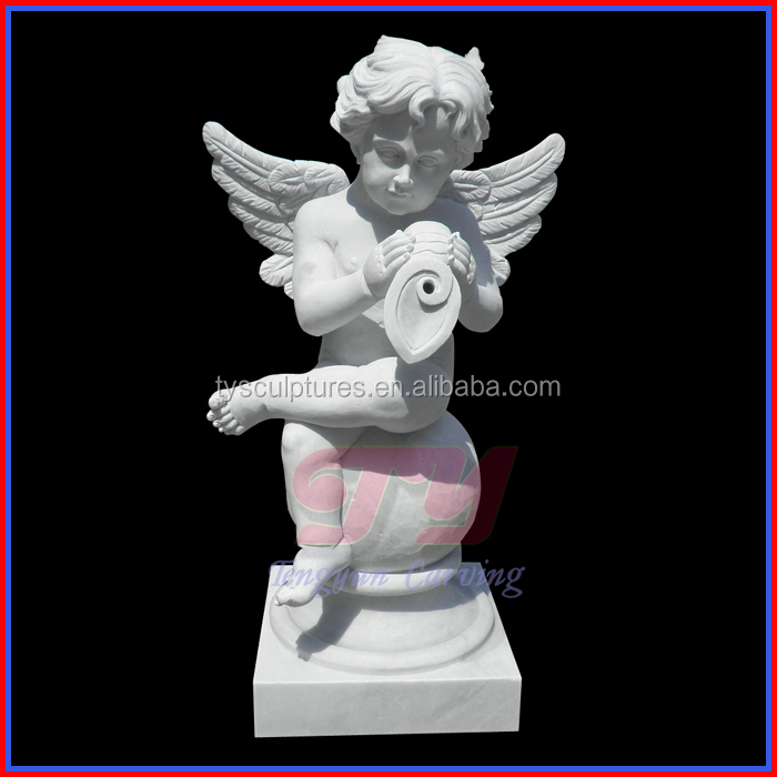 Stone small cherub angel marble cupid little boy angel statue