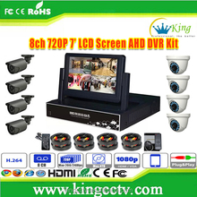 NEW 7inch LCD Screen HD AHD DVR home security 8 channel cctv camera system