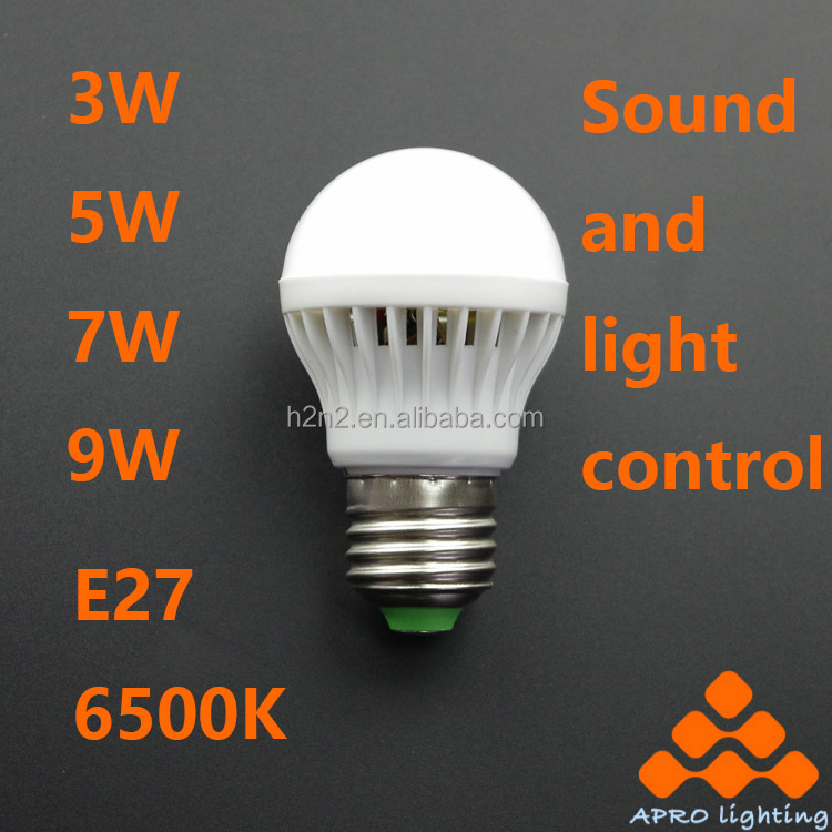 Factory direct sound and light control led bulb e27 5 watts 7 for polyethylene container