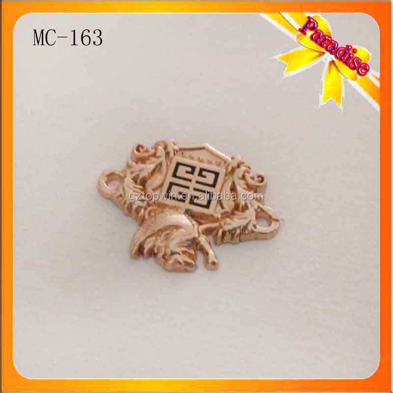 MC163 Hot design metal tags for clothing plated gold metal name labels for T-shirt metal sewing tag