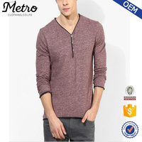 Fashion Newest Style Custom Maroon Henley Mens T shirt
