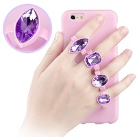New design Gemstones Ring Buckle Bracket Soft 5.5 inchTPU Mobile Phone Case For iPhone 6 Plus