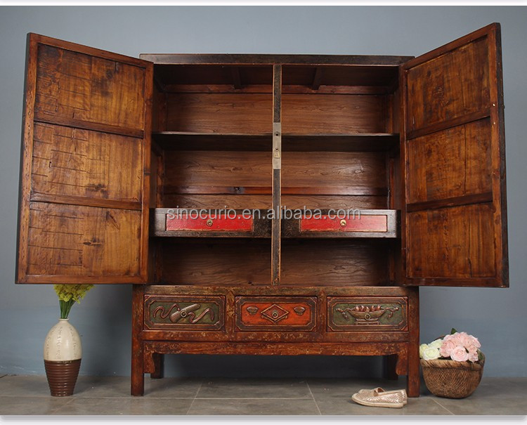 Chinese Antique Furniture Wooden Wedding Cabinet Wardrobe