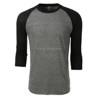 custom wholesale jersey raglan tshirt soft triblend mens blank 3/4 sleeve plain fitted baseball t shirt with raglan sleeves