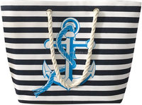 Large Water Resistant Canvas Navy Narrow Stripe Anchor Beach Bag, Zippered Inner Pocket, Top Handle