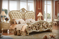 Solid wood champagne gold carving double bed with leather headboard