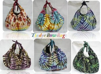 HOBO Boho Hippie Gypsy TIE DYE Sling Shoulder Bow Bag