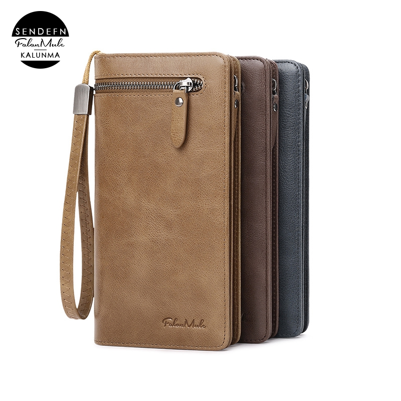 Manufacturer Wholesale Cell Phone Genuin Leather Men Wallet